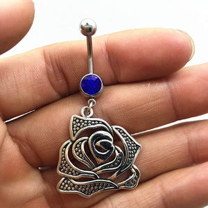 Jewelry - Floral Rose Crystal Navel Belly Ring 3 Colors